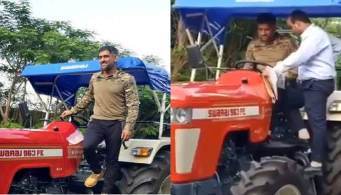 dhoni riding tractor