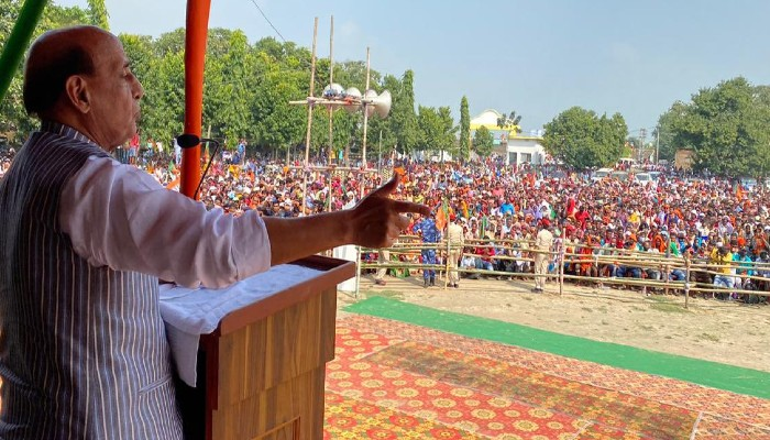 Bihar Election 2020 Defence Minister Rajnath Singh addresses rally in Bhojpur