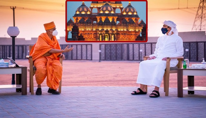 uae foreign minister sheikh abdullah reviews first hindu temple construction in abu dhabi
