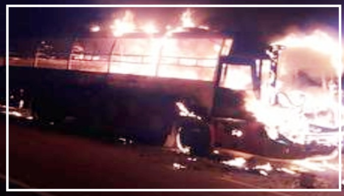 Haryana To bihar Double Decker Bus Burned On on-lucknow-agra-expressway
