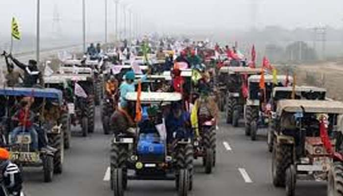 kisan protest tractor raily